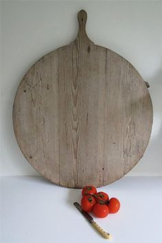 Vintage Cheese Chopping Board Rustic French Large Round Wooden Bread Serving Kitchen Display