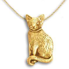 14k Gold Domestic Cat Pin Pendant
