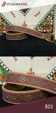 Lucky Brand belt. NEW!! Lucky Brand belt. NEW!!! Light brown leather with embroidery in purple/maroon/blue with gold studs Lucky Brand Accessories Belts
