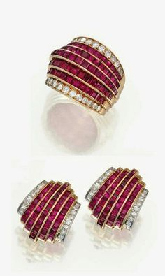 Van Cleef & Arpels Ruby, Diamond and Gold Ring and Earrings Ruby Jewelry, Gold Jewelry, Wedding Jewelry, Fine Jewelry, Van Cleef And Arpels Jewelry, Van Cleef Arpels, Diamond Cuts, Diamond Trade, Indian Jewelry