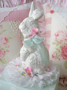 Sweet Aqua Bunny Box.  Copyright 2008 Rhea Cominolo Sweet n Shabby Roses