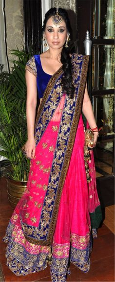 Beautiful colour combination, lehenga and choli. Even an anarkali in the same combination would look great