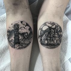 small black and grey round portal sketch arm tattoos -- lord of the rings -- mordor -- the all seeing eye -- jrr tolkien -- the hobbit