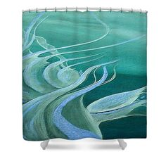 Teal Expression Shower Curtain by Faye Anastasopoulou. This shower curtain is made from polyester fabric and includes 12 holes at the top of the curtain for simple hanging. The total dimensions of the shower curtain are wide x tall. Beautiful Modern Homes, Beautiful Series, Ocean Scenes, Fancy Houses, Pattern Pictures, Curtains With Rings, Curtains For Sale, My Themes, Painting Process