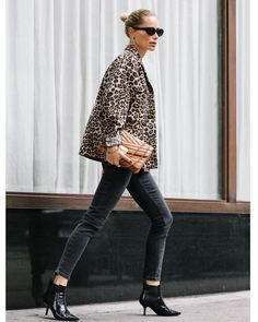 """ANINE BING on Instagram: """"The leopard jacket of my dreams 🐆@aninebingofficial"""" Winter Outfits, Cool Outfits, Fashion Outfits, Capsule Wardrobe, Leopard Jacket, Business Casual Outfits, Blazer, Fashion Line, Looks Style"""