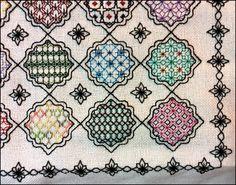Details from Block 6 of Marilyn K's finished embroidery. www.blackworkjourney.co.uk