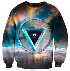 8d066a246c8 Beloved Shirts Triangle Eye Sweatshirt - Premium All Over Print Graphics