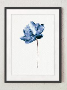Lotus Set of 2 Watercolor Painting Blue Water by ColorWatercolor