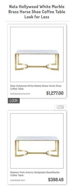 Nata Hollywood White Marble Brass Horse Shoe Coffee Table vs Madison Park Antonio Goldplated Steel/Marble Coffee Table