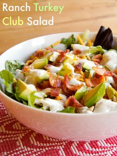 Ranch Turkey Club Salad - All the goodness of a club sandwich in a bowl! - wearychef.com