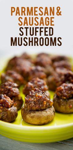 Parmesan & Sausage Stuffed Mushrooms from @backtoherroots