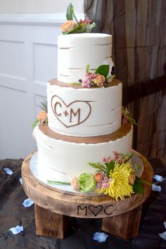 rustic country wedding cake made with initials