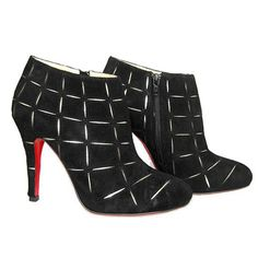 Christian Louboutin Globe 100 Suede Ankle Boots Black