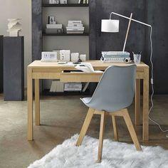 Stuhl aus Kunststoff und Eiche, grau