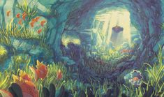 Illustration depicting an underwater Pokemon scene. It is a rocky cavern tunnel, the seafloor lined with seagrass. Luvdisc, Magikarp, Relicanth, Clampearl, and Chinchou swim around. In the distance, the cavern ceiling opens up, with light shining down in rays through the water's surface. A trainer on the back of a Wailer swims up to the surface.