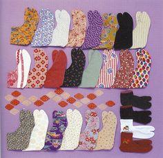 Various tabis(traditional Japanese socks).