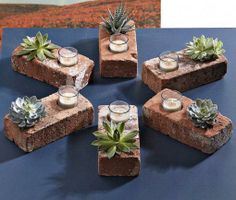 Just take bricks and use the two holes to plant succulents and place small tea candles. So neat and easy.