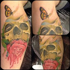 Skull and rose watercolour tattoo done by myself