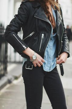 Moto Leather Jacket, Chambray Shirt, & Black Denim {Rocker, Edgy, Grunge, Indie, Moto, Punk, Chic} www.lovekrystle.com Links To Similar Items:  https://api.shopstyle.com/action/apiVisitRetailer?id=513129725&pid=uid4225-33453065-53 https://api.shopstyle.com/action/apiVisitRetailer?id=506160702&pid=uid4225-33453065-53 https://api.shopstyle.com/action/apiVisitRetailer?id=511050506&pid=uid4225-33453065-53