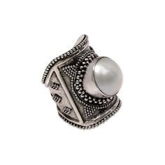 NOVICA Wide Silver and Cultured Mabe Pearl Ring from Bali ($45) ❤ liked on Polyvore featuring jewelry, rings, pearl, toplevelcatrings, wide band rings, novica rings, handcrafted silver rings, wide silver ring and wide rings