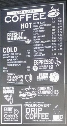cafe menu board - Google Search