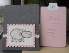 Baby Girl's Birth Announcement with insert