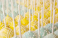 Yellow and blue cake pops are a perfect color combo for Spring, and are appropriate for a girl, boy, or surprise baby! Source: These Peas are Hollow