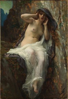 Alexandre Cabanel (French, 1823–1889). Echo, 1874. The Metropolitan Museum of Art, New York. Gift of Mary Phelps Smith, in memory of her husband, Howard Caswell Smith, 1965 (65.258.1) | In Greek mythology Echo is the beautiful nymph who falls in love with Narcissus, a handsome youth who loves only his own reflection.
