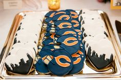 Pin for Later: Bring Your A-Game to Your Big Day With These 21 Football Ideas Team Cookies Bear Wedding, Wedding Day, Wedding Things, Chicago Bears Cake, Football Wedding, Bear Cakes, Food Themes, Love And Marriage, Big Day
