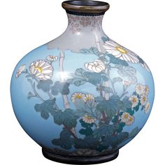 Japanese light blue cloisonné vase with chrysanthemum design Meiji period circa 1900