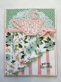 PLEATED CARD. Great colors. Stampin Up dies.