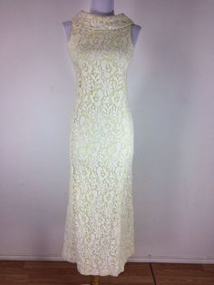 Vintage 1960s Dress Maxi Lace Yellow White Sweet Color Sleeveless Floral Size S