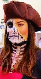 Half Skeleton Special effects makeup face paint pirate latex captain hat lady pretty girl halloween creepy scary costume