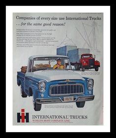 International Truck Blue White.  Very stylish vintage 60s truck ad.  Illustrated.