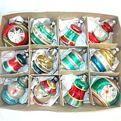 Box 1940s Premier Shapes Figural Glass Christmas Ornaments