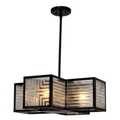Shop for Zeev Lighting Adaman Collection Transitional Rustic Iron and Ribbed Glass Tile Two-tiered Medium Base Chandelier. Get free delivery On EVERYTHING* Overstock - Your Online Ceiling Lighting Store! Chandelier Shades, Chandelier Lighting, Chandeliers, Rectangular Chandelier, Modern Pendant Light, Contemporary Decor, Ceiling Lights, Rustic, Design