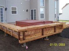 """Cedar Hot Tub Deck in West Dundee, IL. We avoided rails on this low to grade deck to create an open feel. Around the hot tube we built """"floating benches"""" to create a boundary and offer seating for hot tub guests. Archadeck of Chicagoland Low Deck, Back Deck, Deck Design, House Design, Garden Design, Outdoor Spaces, Outdoor Living, West Dundee, Hot Tub Deck"""