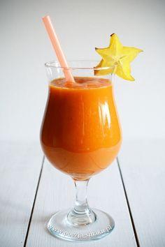 Smoothie z mango: 1 duże i dojrzałe mango (ok. Mojito, Hurricane Glass, Sorbet, Kiwi, Nutella, Smoothies, Mango, Tableware, Smoothie