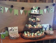 Rustic dessert table. Rustic, country, deer, hunting, baby shower