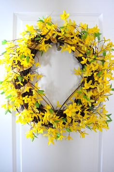 Vibrant Yellow Spring Forsythia Wreath - Wall Decoration from MidnightOilWreaths on Etsy $58.00