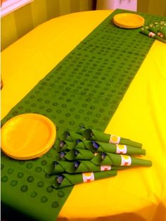 lego table runner - stamped