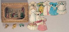 """Paper Dolls, 1790-1940 - The Collection of Shirley Fischer: 26 1850's French Boxed Set of Paper Dolls """"L'Ecole des Modes"""""""