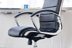 """Now these are curves you can work with!   INSPIRED By Bassett - Ellis Chrome Executive Chair in """"Black"""" Product No: BP-ELCX-U6"""