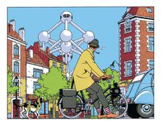 Vittorio Giardino - Jacques Tati ponders the Atomium in Brussels. Hulot would scratch his head at this further encroachment of cold modernism upon the slow-paced routines of life. Illustrations, Illustration Art, Ligne Claire, World's Fair, American Comics, Manga Comics, Comic Artist, Comic Strips, Comic Books