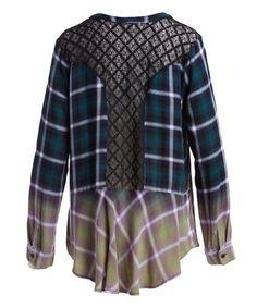 Look at this #zulilyfind! Green & Pink Ombré Mesh Back Button-Up Tunic - Women #zulilyfinds
