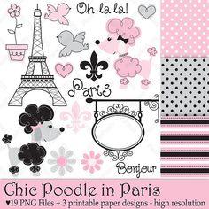 Chic Poodle in Paris - Clip art and Digital paper set