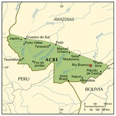 Acre is a state in the W part of Brazil.  There are 732,793 people on 58,912 sq. mi. (152,581 sq. km.) or a little smaller than Georgia.  Rio Blanco is the capital.  Along with Amazonas, the state reaches the westernmost part of Brazil.  Amazonas is N and NE, Rondonia is NE, Pando Department of Bolivia is SE, Madre de Dios of Peru is S and W, Ucayali of Peru is S and SW, and Loreto of Peru is W.