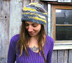 Crochet Hippie Beanie in Freeform Hand-spun Natural Fibers by ReGrowRoots on Etsy