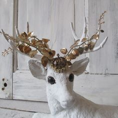 White buck statue figure French Nordic crowned by AnitaSperoDesign