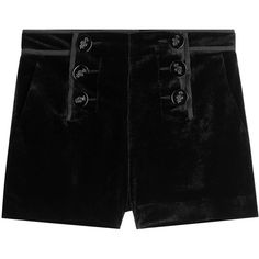 Emilio Pucci Velvet Shorts ($565) ❤ liked on Polyvore featuring shorts, bottoms, emilio pucci, black, short shorts, laced shorts, lace-up shorts and slim fit shorts